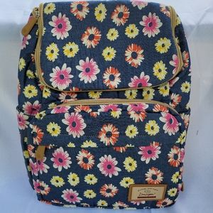 Diaper backpack navy with flowers print